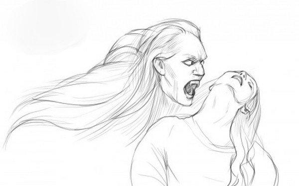 Раскраска девочка вампир - 4