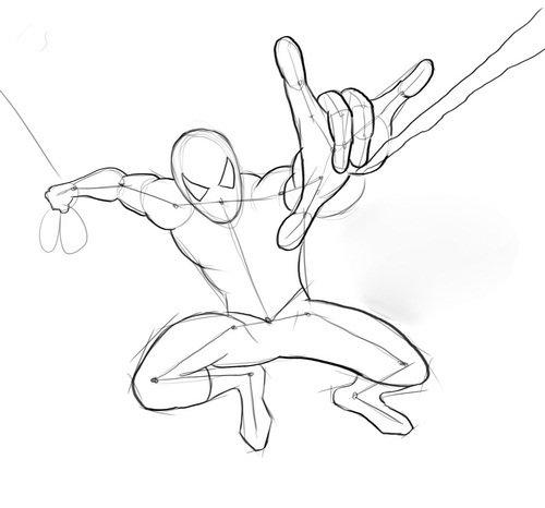 Человек паук карандашом поэтапно