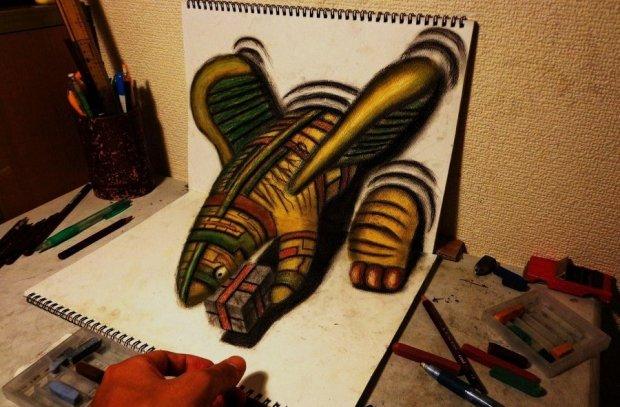 Как рисовать 3D рисунки на бумаге карандашом